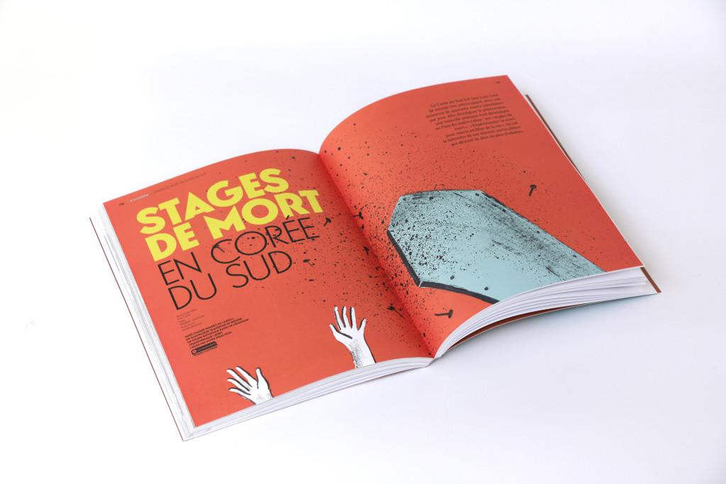 24h01 N°4 — Article : Stage de mort en Corée du Sud — Reportage radio : Eva John — Textes: Frédéric Delvigne — Illustrations : Marie Mignot