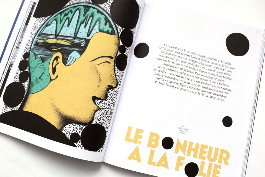 24h01 N°6 — Article : Le bonheur à la folie — Textes : Sabine Verhest. Illustration : ICINORI